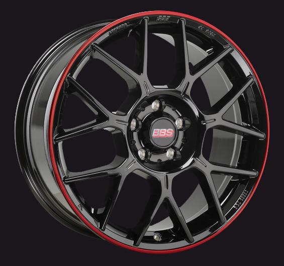 BBS Design Line XR Schwarz Glanz mit rotem Anfahrschutz
